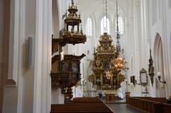 马尔摩,瑞典- 2017年5月31日:教会Sankt陪替氏kyrka,一个大教会的内部在Malmö,瑞典 库存照片