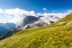 马尔莫拉达山冰川,白云岩,意大利 免版税图库摄影