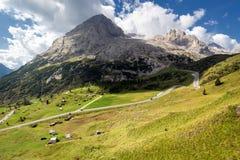 马尔莫拉达山冰川,白云岩,意大利 免版税库存图片