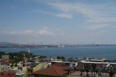 马尔马拉海北海岸和Bosphorus在伊斯坦布尔,土耳其 免版税库存图片