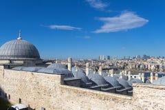 马尔马拉海和Bosphorus Suleymaniye清真寺,伊斯坦布尔看法, 免版税图库摄影