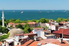 马尔马拉海,从伊斯坦布尔的看法 免版税库存图片