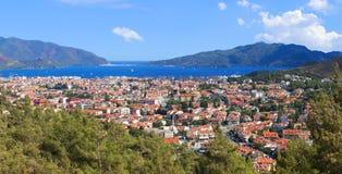 马尔马里斯港市,土耳其鸟瞰图  图库摄影