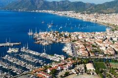 马尔马里斯港港口看法土耳其语的里维埃拉 免版税图库摄影