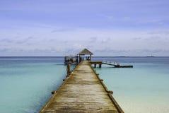 马尔代夫小船跳船 免版税图库摄影