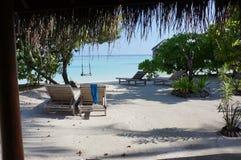 马尔代夫海岛小屋海滩梦想假日 库存图片