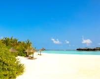 马尔代夫海滩视图 免版税库存照片