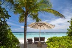 马尔代夫海滩视图 图库摄影