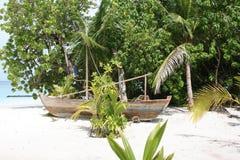 马尔代夫老小船 免版税库存照片