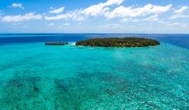 马尔代夫,一个海岛在海洋,从海边的看法 库存照片