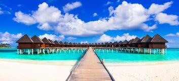 马尔代夫,在水别墅的豪华热带假日 免版税图库摄影