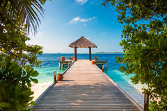 马尔代夫,海滩的一个地方婚礼的 免版税库存图片