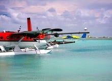 马尔代夫 停泊海洋水上飞机 库存照片