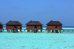 马尔代夫水别墅 免版税库存图片