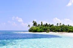 马尔代夫Laamu环礁的热带海岛 免版税库存图片