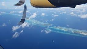 马尔代夫waterplane视图 库存照片