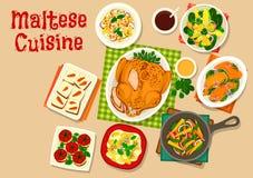 马尔他菜单设计的烹调健康食物象 免版税库存照片
