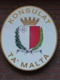马尔他领事馆标志(马耳他) 库存图片