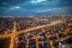 马尼拉市地平线nightview,马尼拉,菲律宾 库存照片