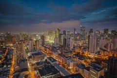 马尼拉市地平线nightview,马尼拉,菲律宾 免版税图库摄影