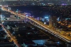 马尼拉市地平线nightview,马尼拉,菲律宾 免版税库存照片