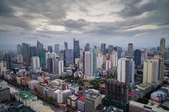 马尼拉市地平线nightview,马尼拉,菲律宾 免版税库存图片
