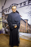 马希连・国柏(波兰女修道院的方济会男修道士)博洛尼亚主要集市广场的蜡博物馆蜡象  库存照片