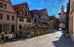 马库斯塔和Roder成拱形- Rothenburg ob der陶伯-德国 免版税库存照片