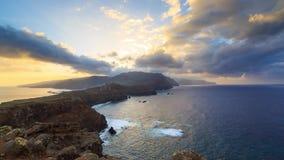 马德拉在日落的海岛timelapse 股票视频