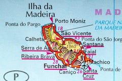 马德拉岛地图 库存照片