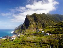 马德拉岛海岛海岸风景 免版税库存图片