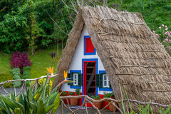 马德拉岛海岛的五颜六色的历史殖民的房子 免版税库存图片
