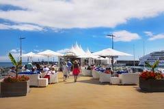 马德拉岛海岛,丰沙尔江边小游艇船坞 免版税库存照片