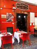 马德拉岛海岛,丰沙尔,老镇餐馆 图库摄影
