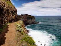 马德拉岛海岛,沿海供徒步旅行的小道 库存照片
