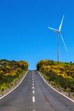马德拉岛海岛 对蓝天的方式与风轮机 节假日 免版税库存图片