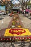 马德拉岛花节日游行在马德拉岛的海岛上的丰沙尔 葡萄牙 免版税库存图片