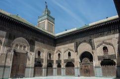 马德拉斯Bou Inania的庭院在菲斯,摩洛哥,非洲 免版税库存图片