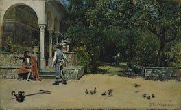 马德拉索y Garreta,非的雷蒙多卡洛斯五世亭子在塞维利亚王宫的庭院里,1868 免版税库存照片
