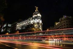 马德里在晚上-大都会 免版税库存图片