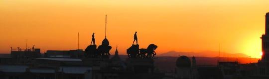 马德里地平线apotheosical日落的 图库摄影