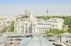 马德里天线都市风景。 免版税库存照片