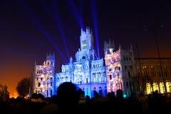 马德里市政厅在晚上之前 免版税库存照片
