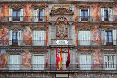 马德里广场市长典型的正方形在西班牙 免版税库存照片