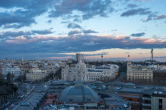 马德里看法从circulo de bellas artes的 免版税图库摄影