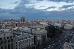 马德里看法从circulo de bellas artes的 库存照片