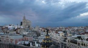 马德里看法从circulo de bellas artes的 图库摄影