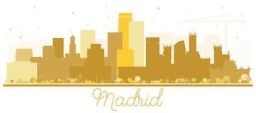 马德里西班牙与金黄大厦的地平线剪影隔绝了o 皇族释放例证