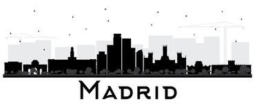 马德里西班牙地平线黑白剪影 向量例证