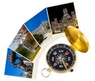 马德里西班牙旅行图象和指南针(我的照片) 免版税库存图片